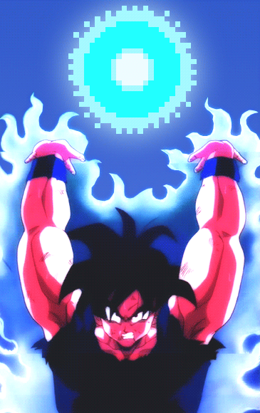 Goku's making a Spirit Bomb in DBZ Devolution